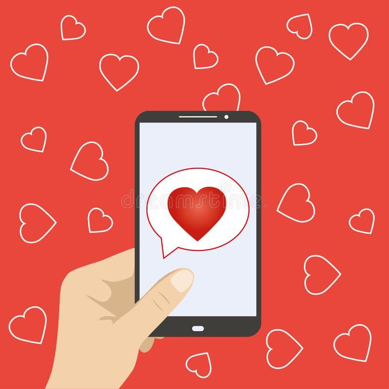 Mão que guarda o telefone celular com ícone do coração ilustração do vetor