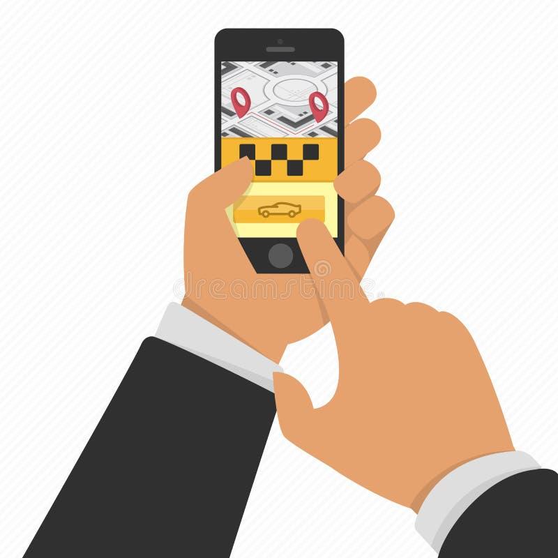 Mão que guarda o telefone com serviço app do táxi ilustração royalty free