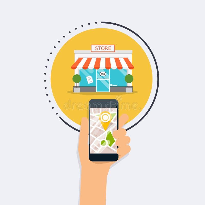 Mão que guarda o telefone esperto móvel com busca móvel da aplicação ilustração royalty free