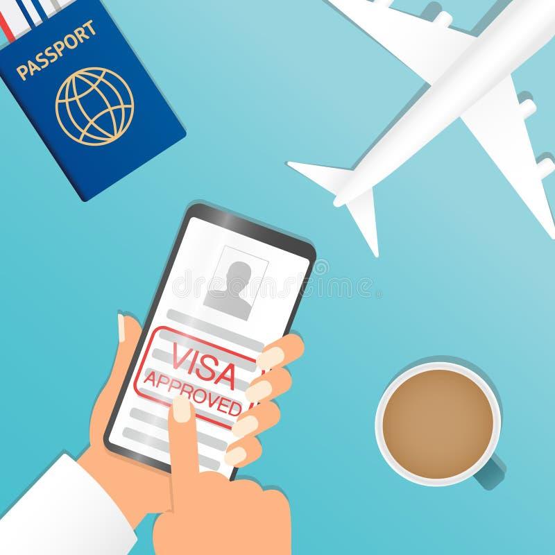 Mão que guarda o toque preto do smartphone e do dedo em placa aprovada do visto ou a autorização de trabalho, tela no fundo azul  ilustração do vetor