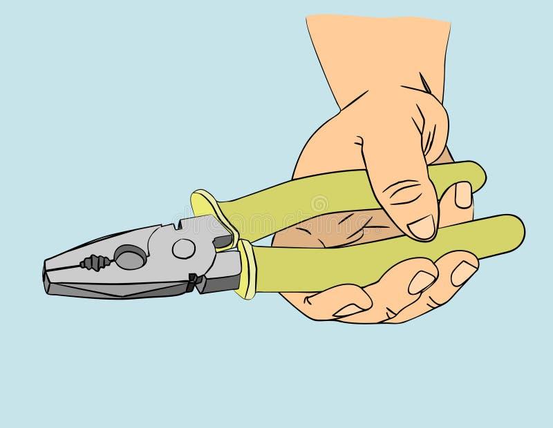 A mão que guarda os alicates ilustração do vetor