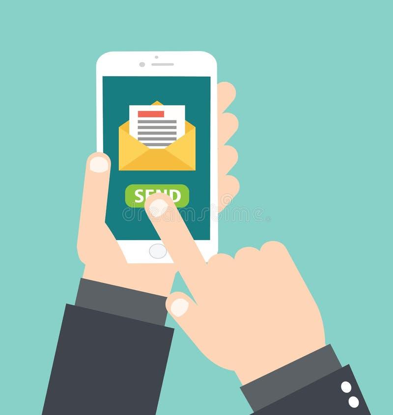 Mão que guarda Smartphone branco - o toque envie a mensagem de correio eletrónico - ilustração stock
