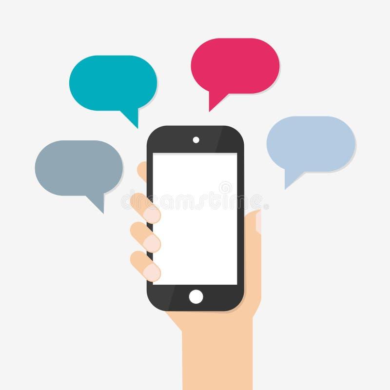 Mão que guarda Smartphone preto ilustração stock