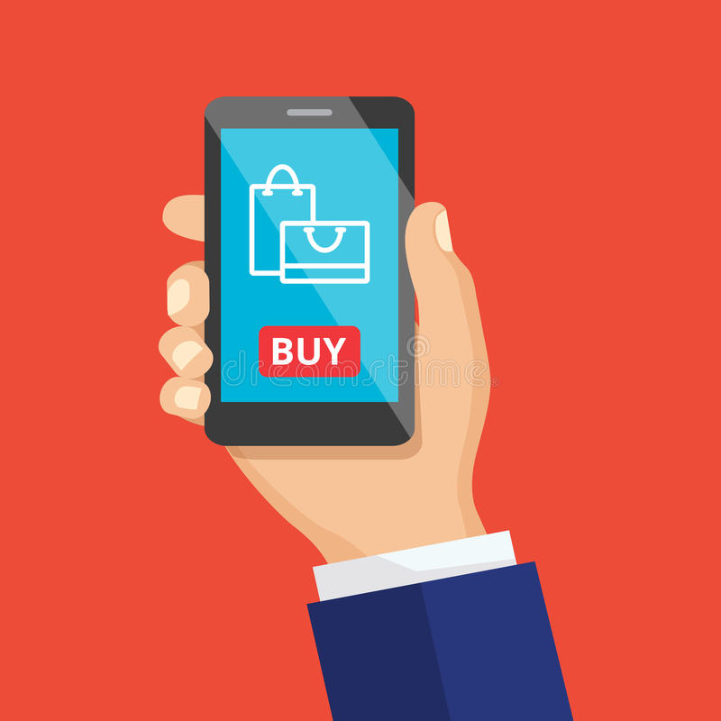 Mão que guarda Smartphone preto Conceito de projeto liso do comércio eletrônico ilustração do vetor
