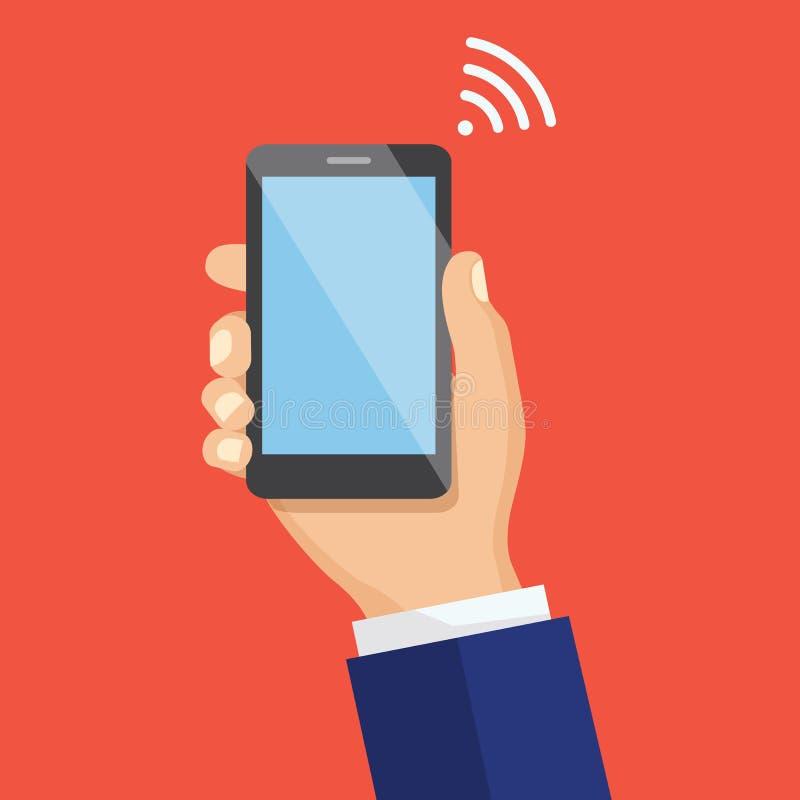 Mão que guarda Smartphone preto Conceito do sinal de WiFi Fla criativo ilustração do vetor