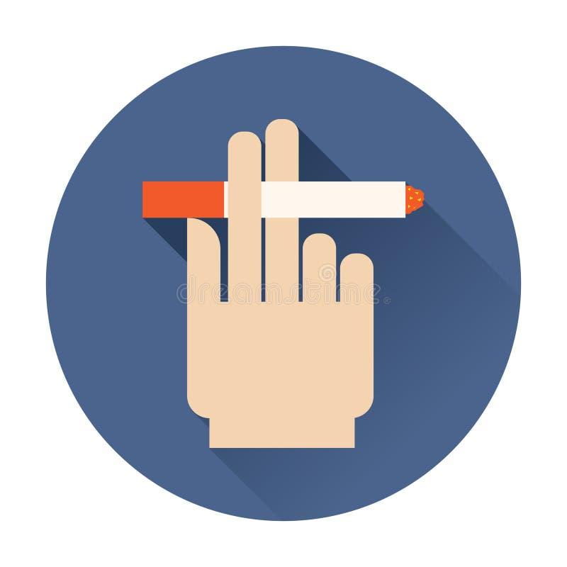 Mão que guarda um ícone do cigarro ilustração stock
