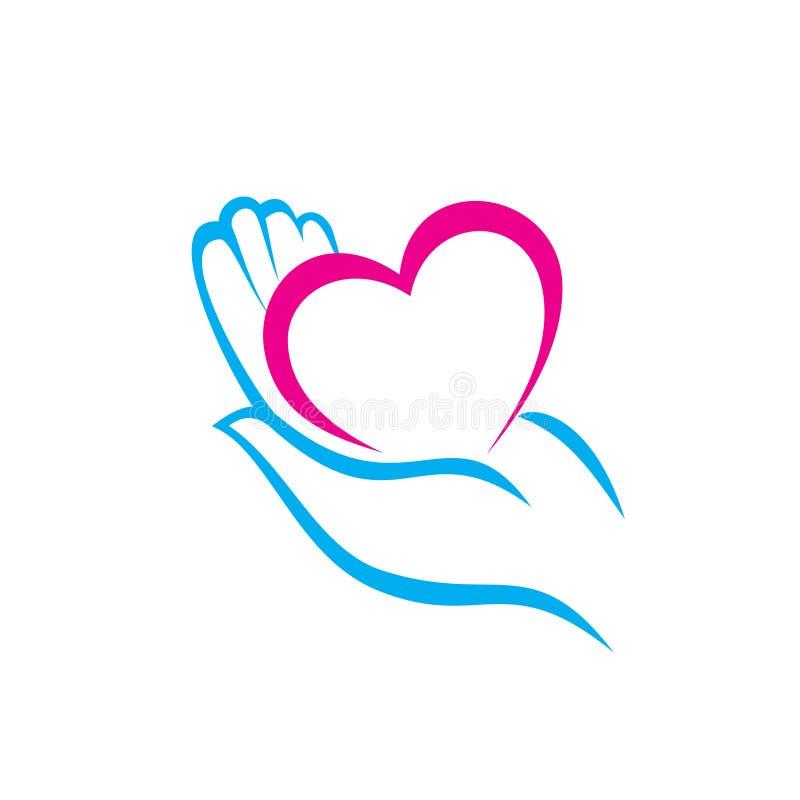 Mão que guarda um ícone do coração ilustração royalty free