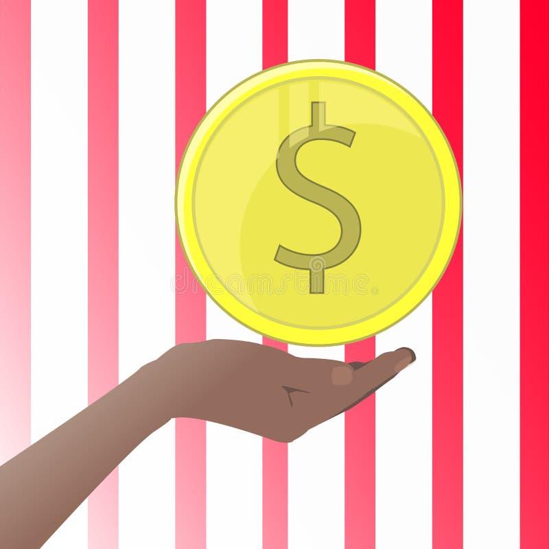 Mão que guarda um centavo da moeda ilustrações ilustração stock