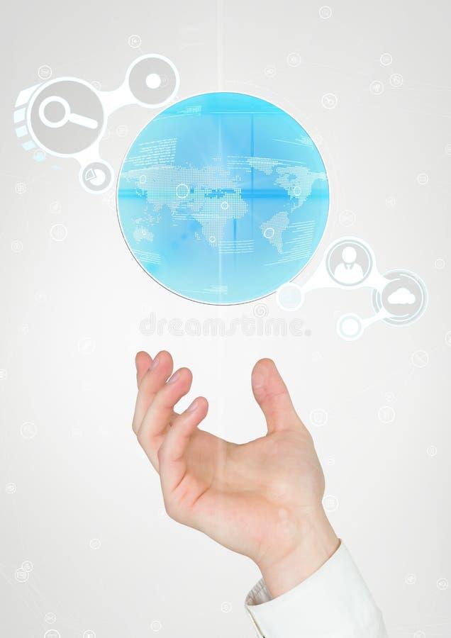 Mão que guarda um globo com conectores ilustração stock