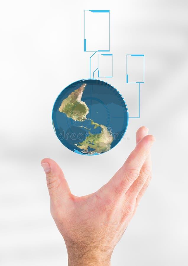 Mão que guarda um globo com conectores imagem de stock royalty free