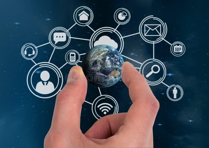 Mão que guarda um globo com conectores imagens de stock royalty free