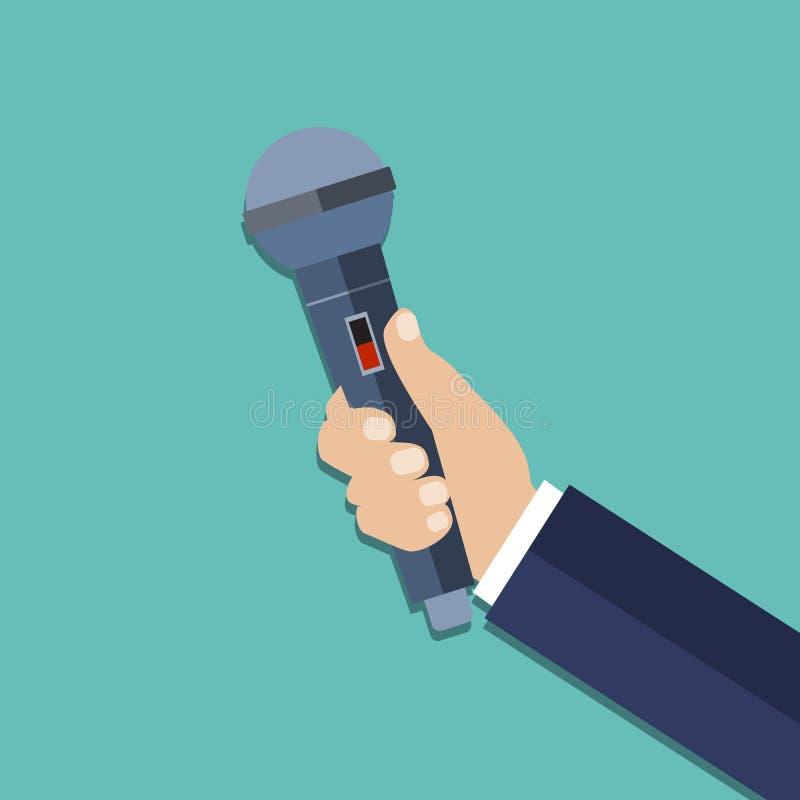 Mão que guarda um microfone ilustração do vetor