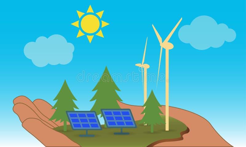 M?o que guarda um peda?o de terra com moinhos de vento e os pain?is solares, conceito verde da energia ilustração stock