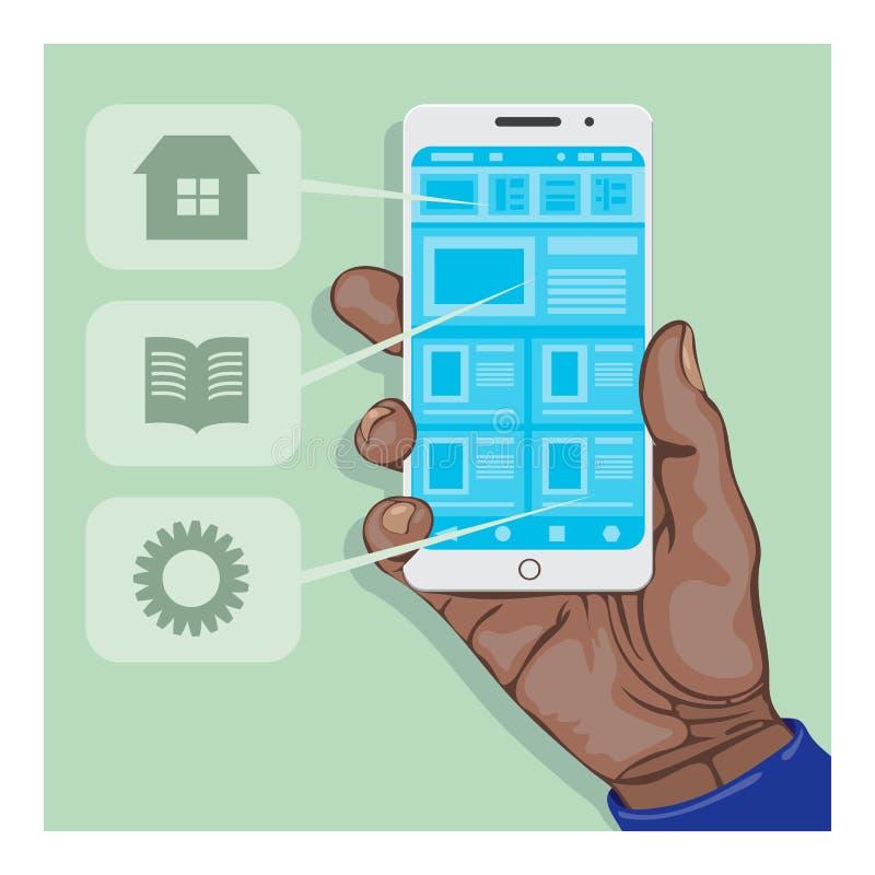 Mão que guarda um smartphone com aplicação aberta ilustração royalty free