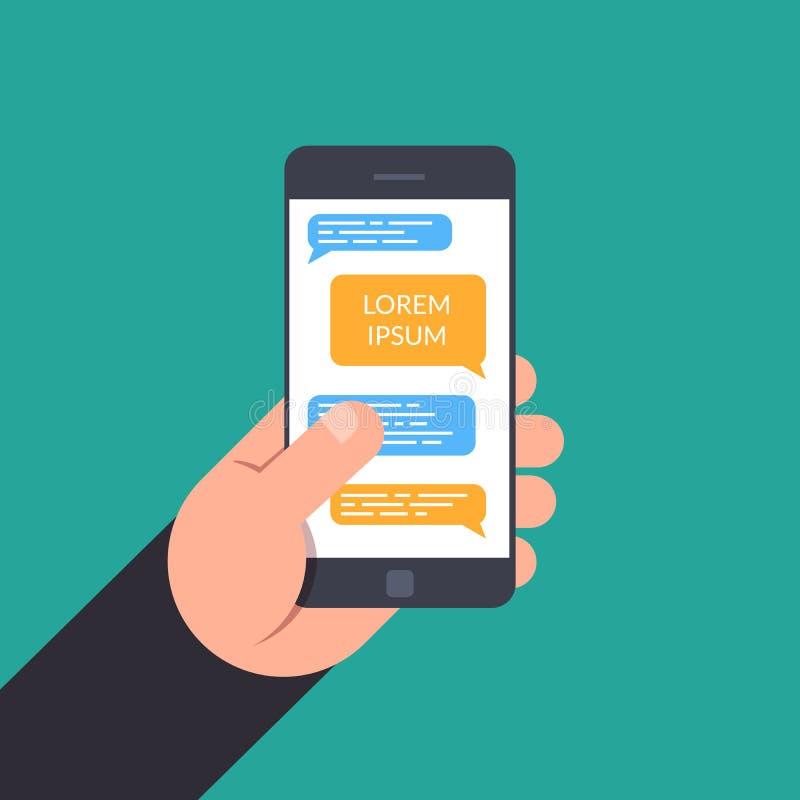 Mão que guarda a um smartphone conceito do bate-papo em linha do projeto, mensageiro, correspondência de negócio com o lugar para ilustração stock