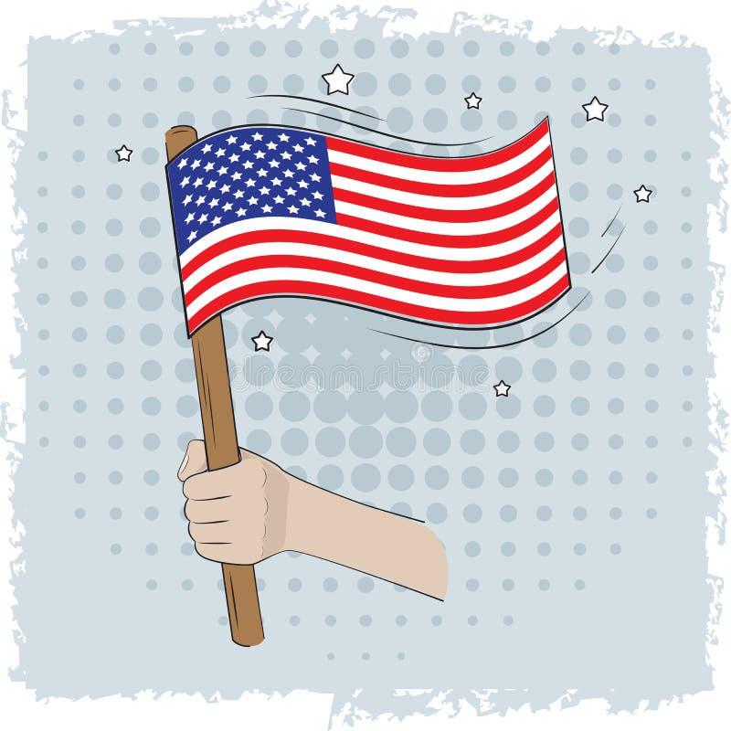 Mão que guarda uma bandeira dos E.U. ilustração royalty free