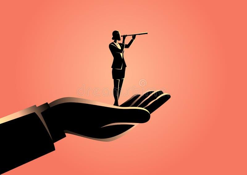 Mão que guarda uma mulher de negócios que usa o telescópio ilustração royalty free