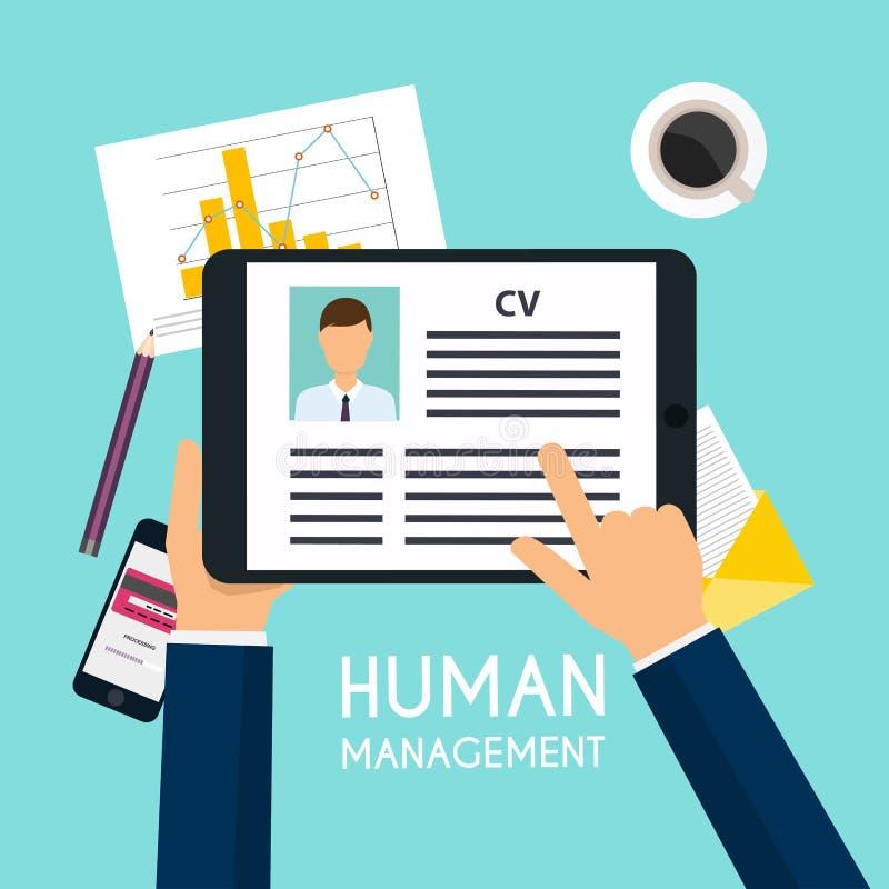 Mão que guarda uma tabuleta digital com resumo do CV Entrevista de trabalho concentrada ilustração stock