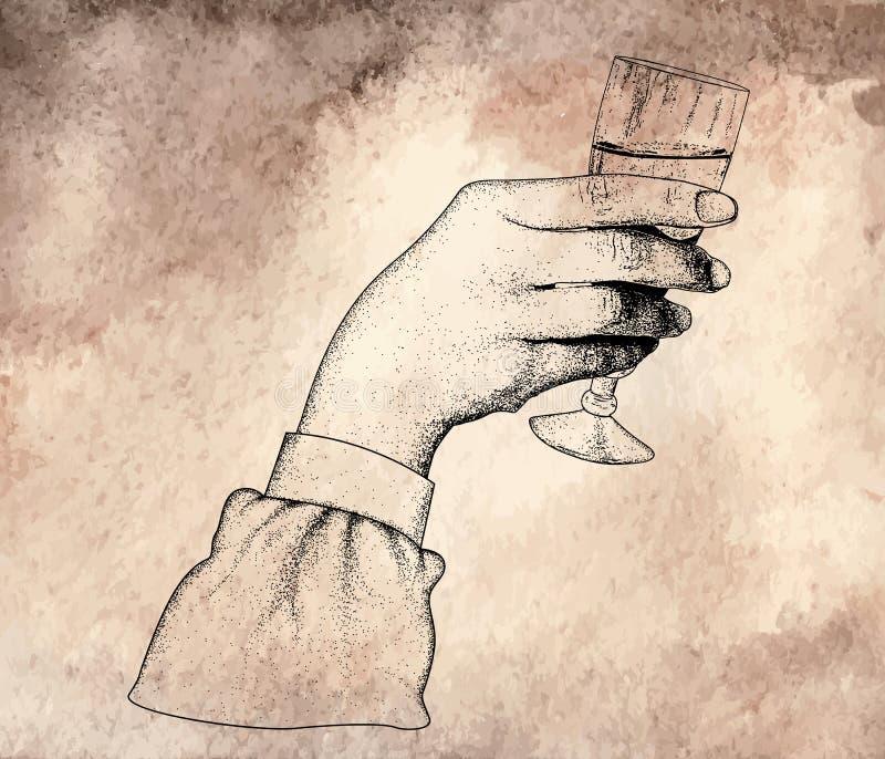 mão que guarda vidros do vinho ilustração royalty free