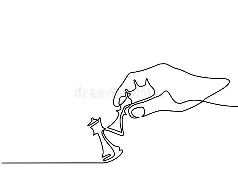 Mão que guarda a xadrez ilustração stock