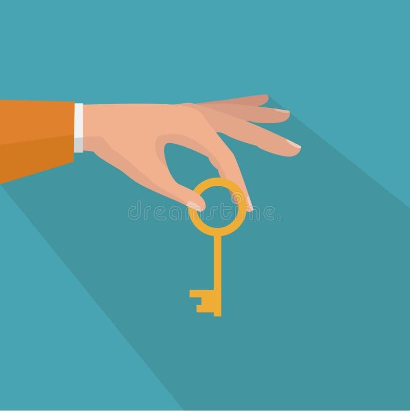 Mão que guardara a chave Ícone liso do sucesso Comprando e vendendo a casa ilustração stock