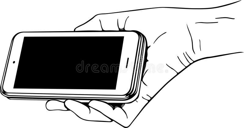 Mão que guardara o telemóvel ilustração do vetor
