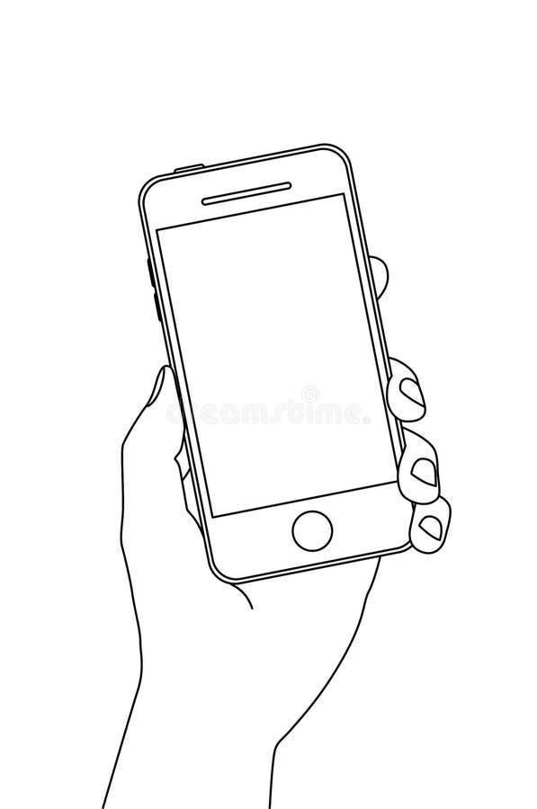 Mão que guardara um smartphone ilustração do vetor