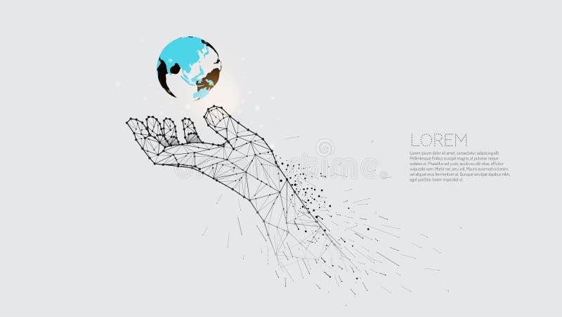 Mão que importa-se sob o mundo Mão abstrata da ilustração do vetor ilustração do vetor