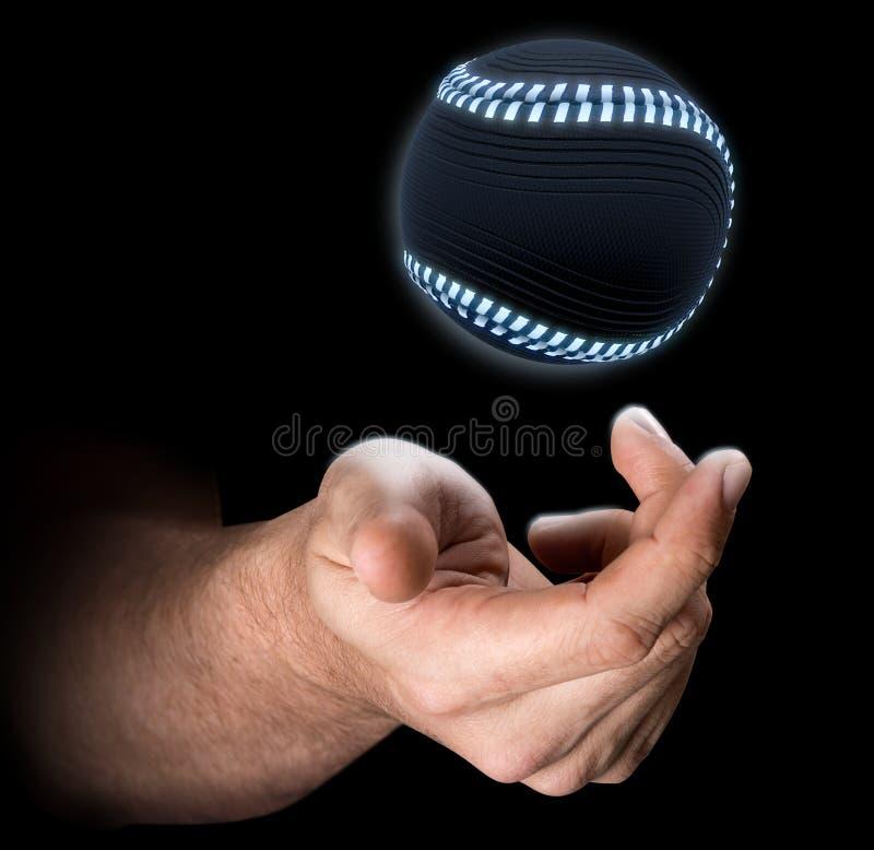 Mão que lanç o basebol ilustração royalty free