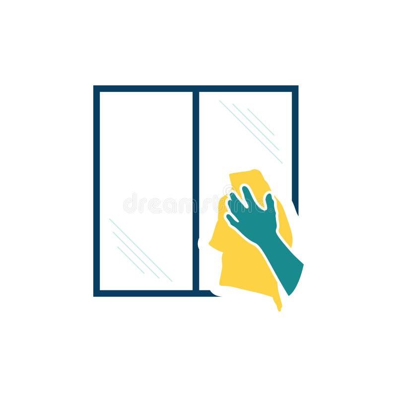 Mão que limpa o ícone da janela ilustração royalty free