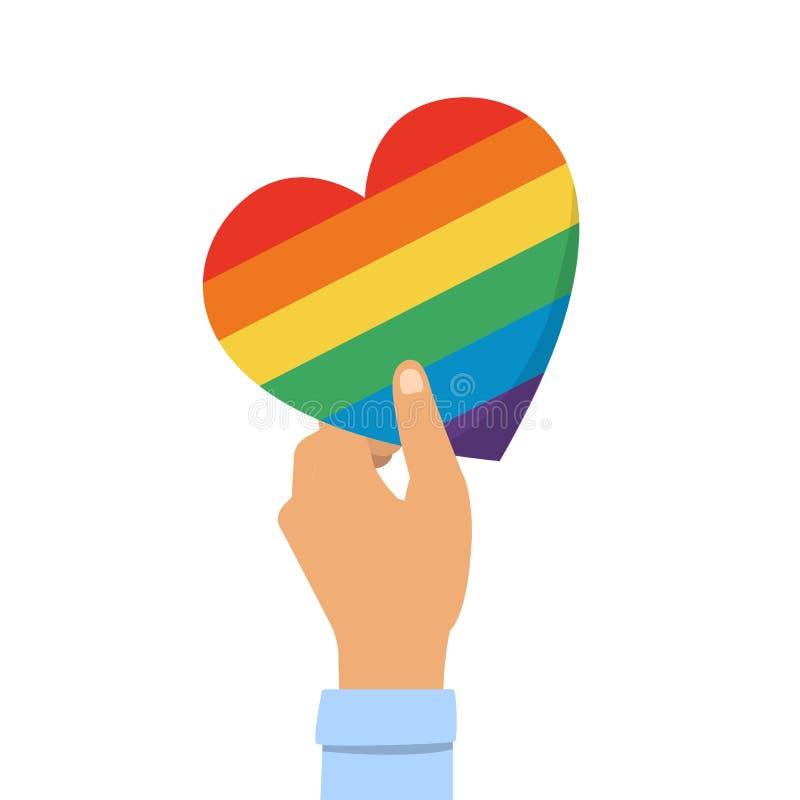 Mão que mantém corações de LGBT isolados no fundo branco ilustração stock