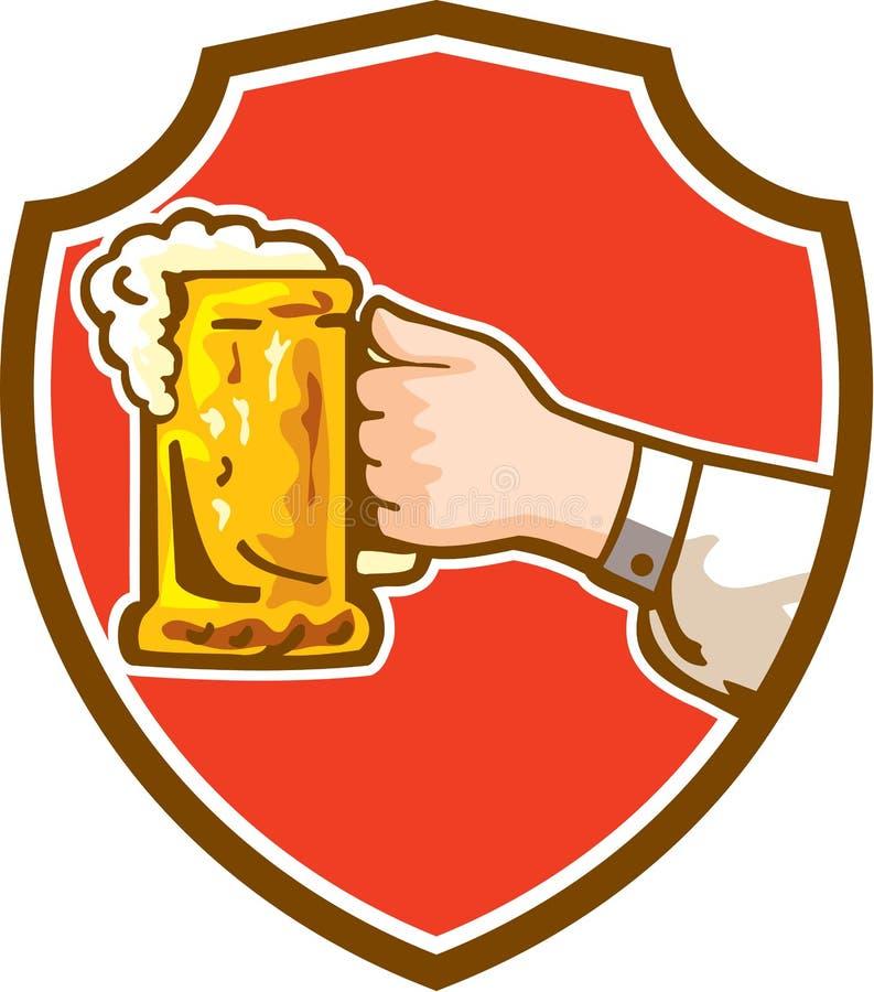 Mão que mantém a crista da cerveja da caneca retro ilustração do vetor