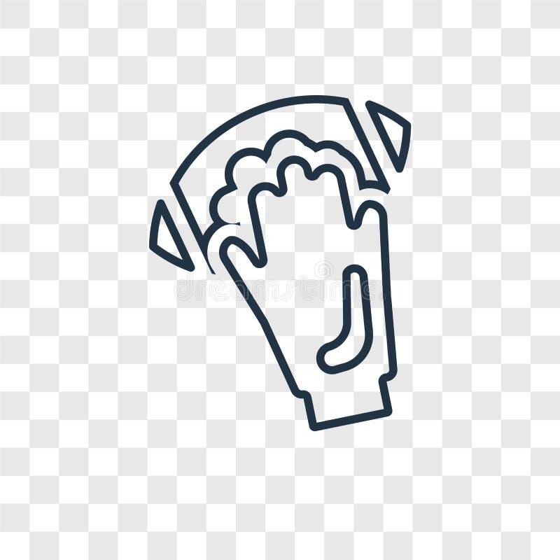 mão que mantém o ícone linear do vetor do conceito da bola isolado no tra ilustração royalty free