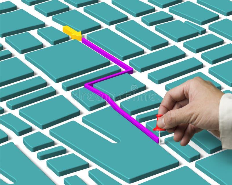 Mão que mantém o percevejo busca encontrada e do mapa da rota fotografia de stock royalty free