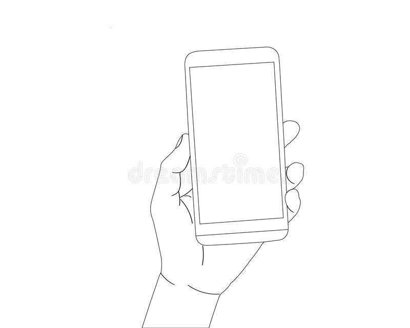 Mão que mantém o smartphone isolado ilustração stock