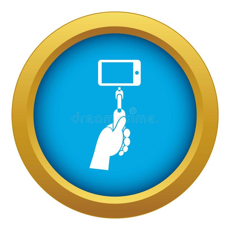 Mão que mantém uma vara do selfie com vetor azul do ícone do telefone celular isolada ilustração do vetor