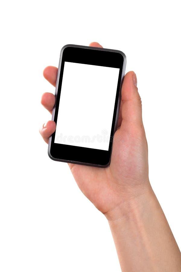 Mão que mantem o telefone móvel isolado fotos de stock