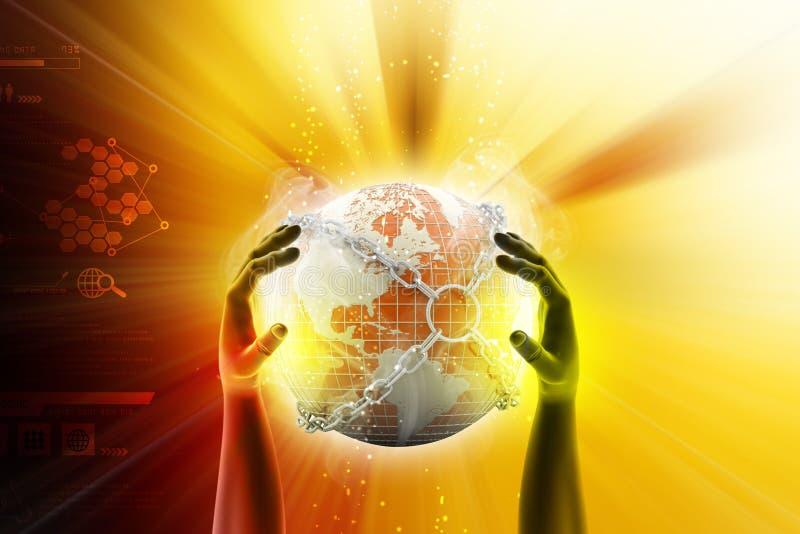 Mão que mostra o fim do globo da terra na corrente ilustração stock