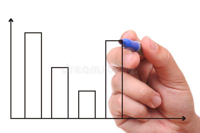 Mão que mostra o gráfico fotos de stock royalty free