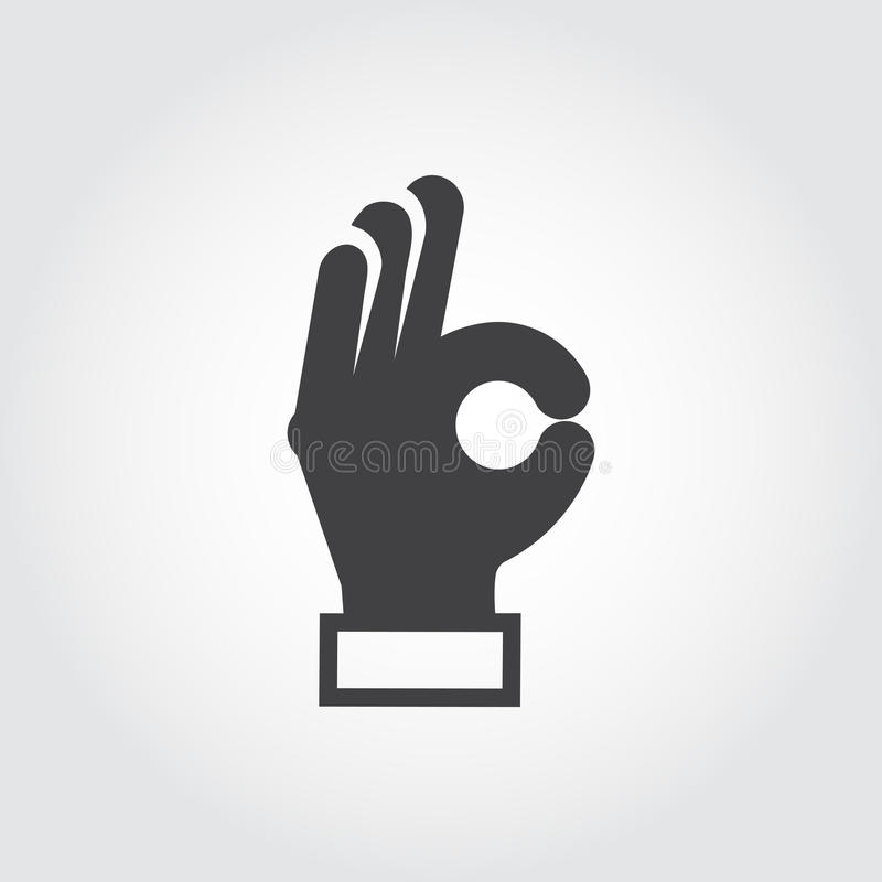 Mão que mostra o sinal APROVADO Braço do gesto, símbolo da linguagem corporal Sinal liso do acordo, aprovação, emoção do positivo ilustração stock