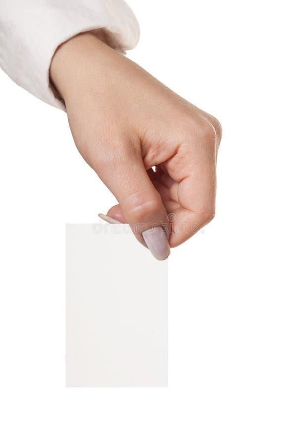 Mão que mostra vCard imagens de stock royalty free