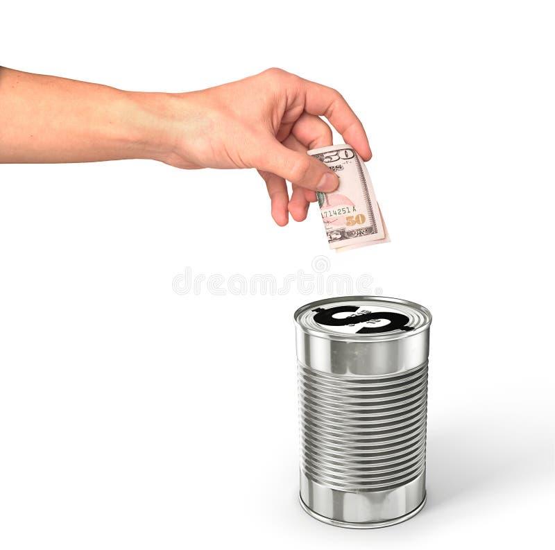 A mão que põe o dinheiro do dólar no dólar pode imagens de stock royalty free