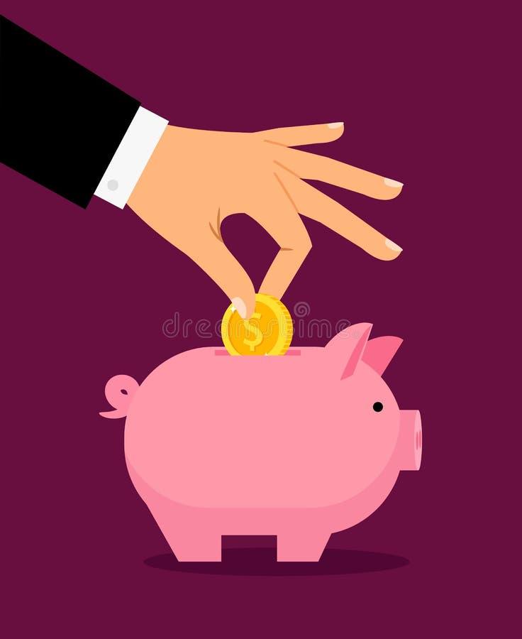 Mão que põe o dinheiro na caixa de dinheiro ilustração royalty free