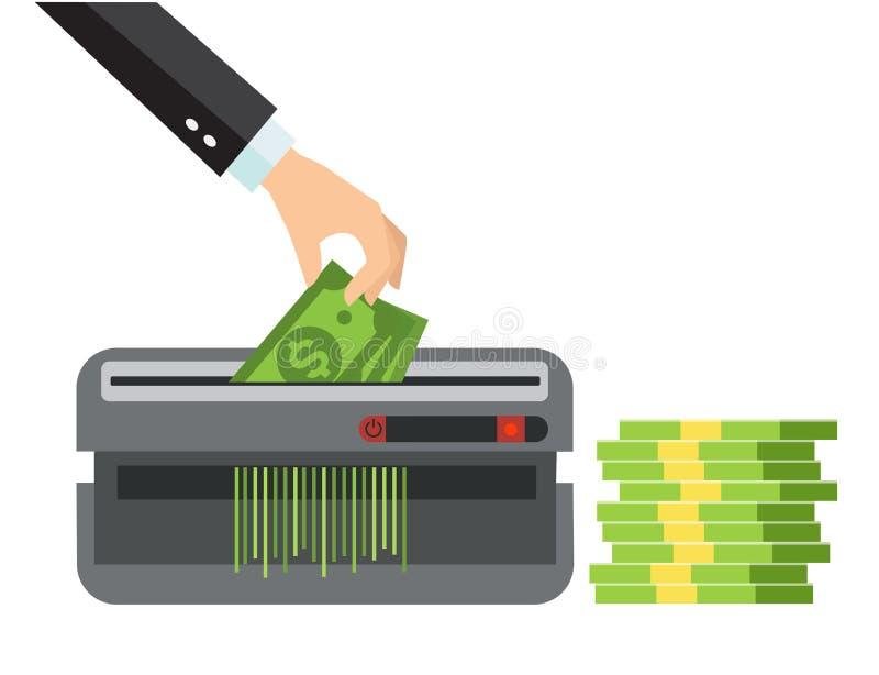Mão que põe o papel moeda na máquina da retalhadora Conceito da terminação do dólar Muito pacote de cédulas dos dólares americano ilustração do vetor