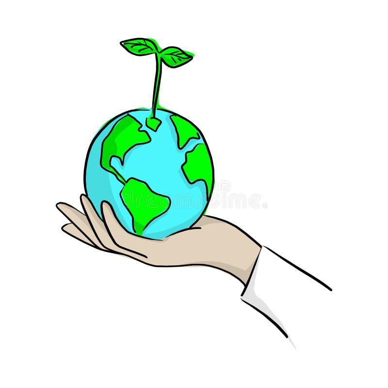 Mão que planta a terra verde com ilustração do vetor da planta com as linhas pretas isoladas no fundo branco Conceito do ambiente ilustração royalty free
