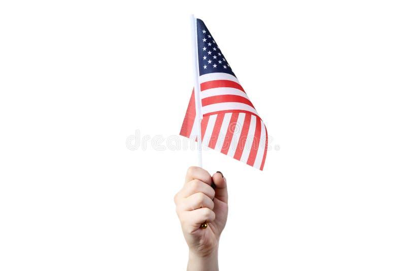 Mão que prende a bandeira americana fotos de stock royalty free
