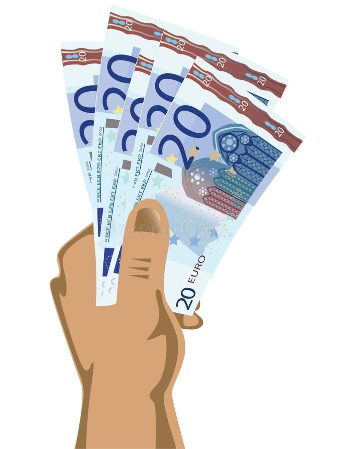 Mão que prende euro- contas ilustração do vetor