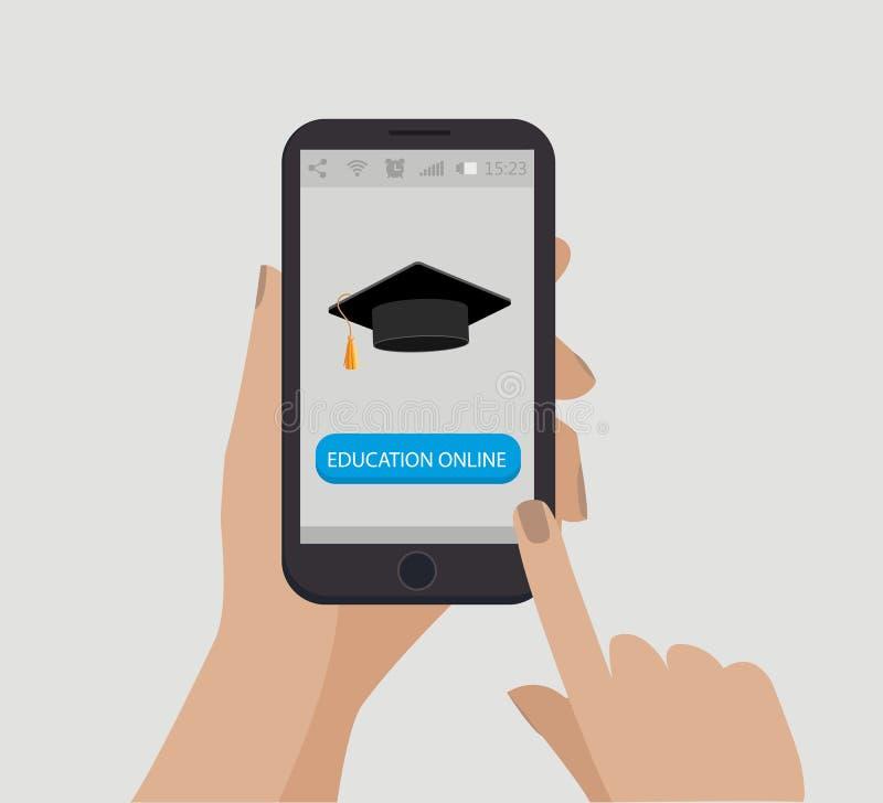 Mão que prende o telefone móvel Chapéu da graduação Instrução em linha Vetor ilustração royalty free