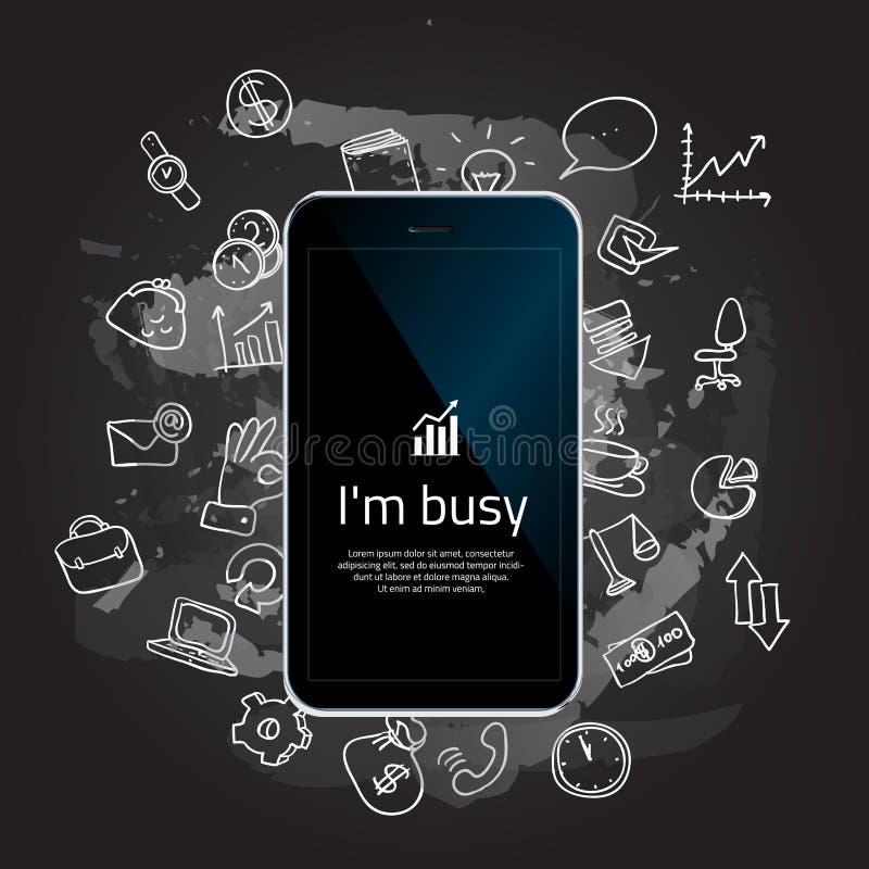 Mão que prende o telefone móvel com ícones ilustração stock