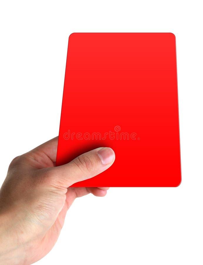 Mão que prende um cartão vermelho fotos de stock